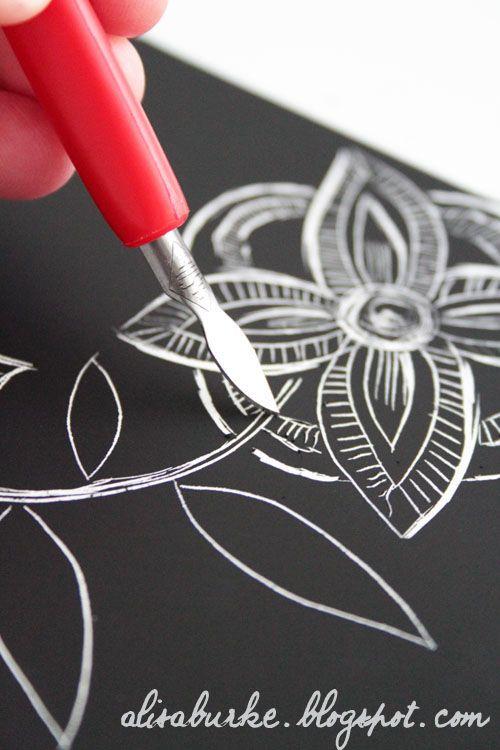 using scratchboard to create negative designs via Alisa Burke