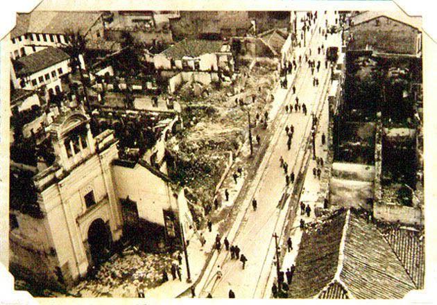 Bogotá Colombia, destruída después de la guerra civil del 9 de abril de 1948