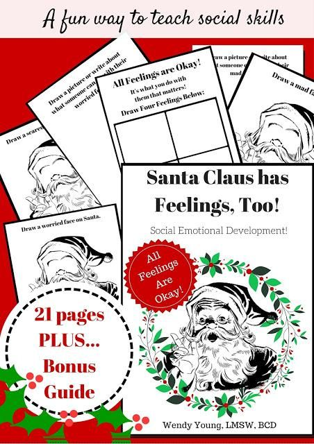 Santa Claus Has Feelings, Too! This fun printable will get kids in the holiday spirit AND help them deal with feelings at the same time! Get it now at the best price and use it all season long! #playtherapy #schoolcounseling