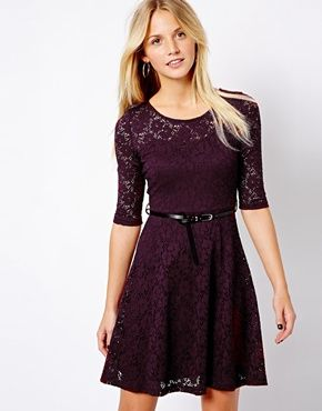 Asos lace skater dress with long fitted sleeves black