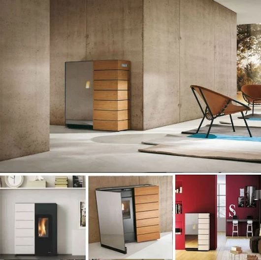 PhotoThe contrast in both material + shade makes this minimal design a must have. #palazzetti Denise Wood pellet #stove.