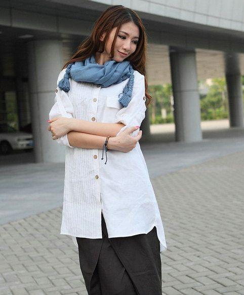 White Linen Shirt Custom long tunic por camelliatune en Etsy