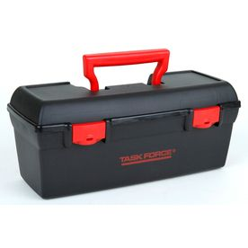 BOY 10-14:  Lowes: Project Source 13-in Black Plastic Tool Box $3.98, a great price for a shoebox-sized toolbox!  If you go to Lowes.com you can even check availability in your local store before shopping, too!  Lowe's is a great store that has stayed away from political activity (unlike liberal Home Depot.)