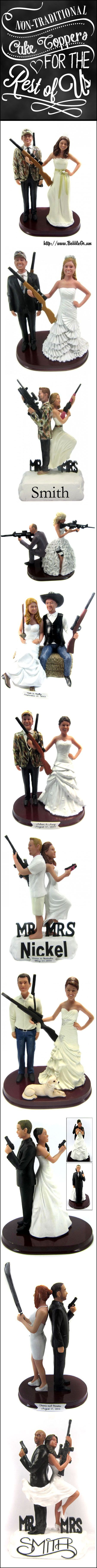 Let BobbleGr.am create a one-of-a-kind hunting themed cake topper complete with your choice of camouflage pattern - sculpted to look like the bride and groom!