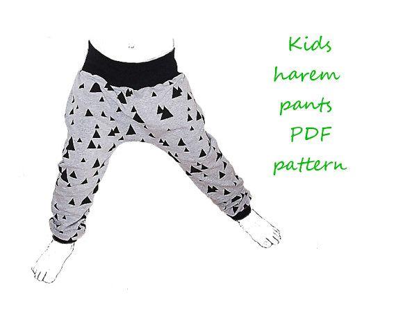 Kids harem pants pattern pdf, boys harem pants pattern, girls harem pants pattern, kids sewing patterns