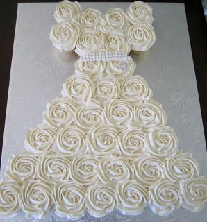 Cakes...Or Something Like That: Bridal Shower Cupcake Wedding Dress - Cupcake Floral Bouquets