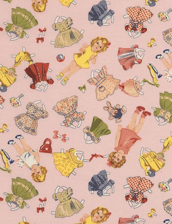NEW  Timeless Treasures  50s Cut Out Paper Dolls  Pink