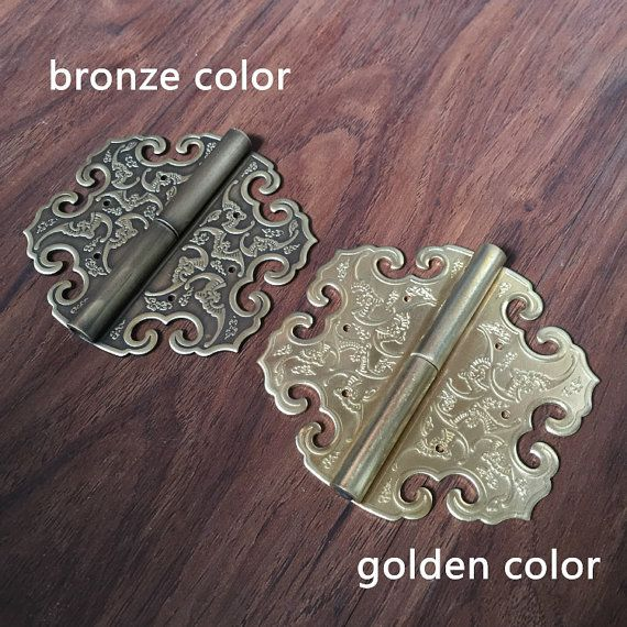 1 pcs Brass Cabinet door hinges,Furniture hinges,Chinese antique brass hinges,copper hinges,solid brass hinge,wooden box hinges