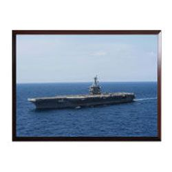 You will be impressed with how detailed and vibrant this High Definition framed photo of the USS Theodore Roosevelt is.   These ready to mount photo plaques are 100% Made in the USA, are 9x12 inches in size and come with either a black or cherry wood finish.  The image itself is high definition, scratch resistant, can be cleaned with abrasive cleaners & will last well over a 100 years as long as it is not stored in direct sunlight.