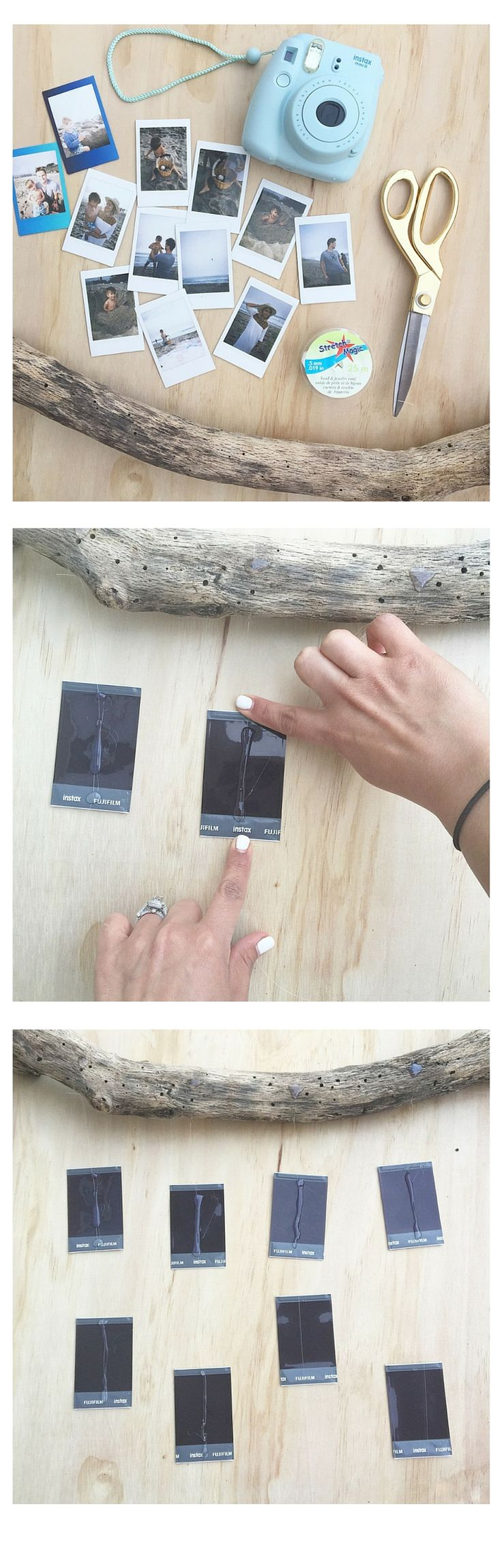 DIY Ideas for your INSTAX photos.  Like this drift wood photo mobile by @littlemissmomma.