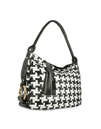 Black Houndstooth Woven Leather Tote Bag
