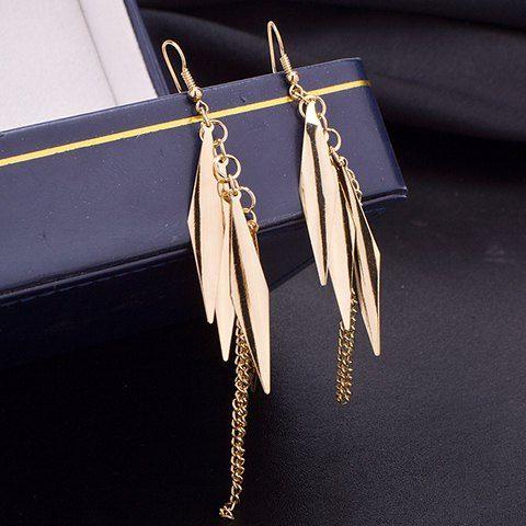 Pair of Delicate Leaf Tassel Women's Earrings