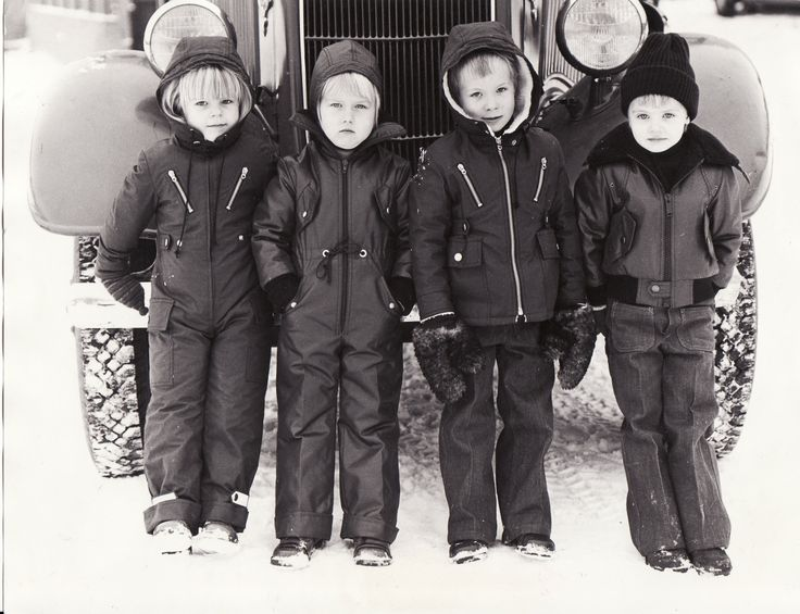 """#Reima70 Reima's employees kids as models in a photoshoot for fall 1976. In the backround Kankaanpää fire brigade's big red fire truck. The weather was really cold, which shows from kids faces. The collections were known as the """"DC-10"""" and """"Leather enstex"""" and they were hot stuff, and would still be, 38 years later. -Leena"""