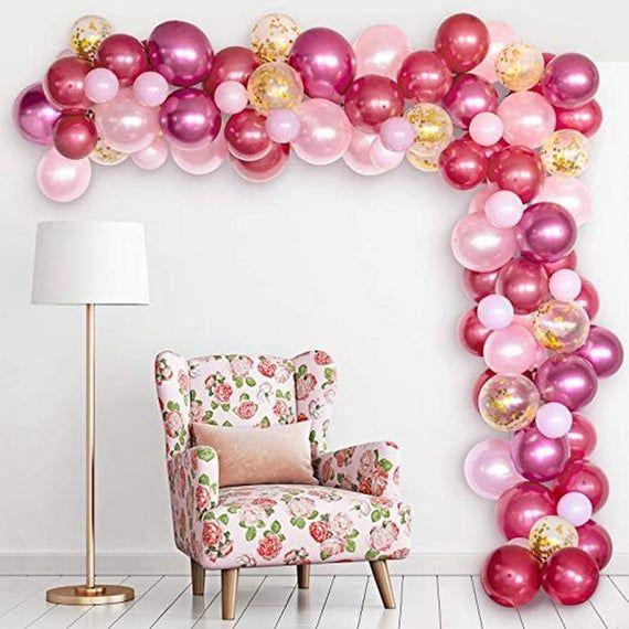 Balloon Arch Garland Kit Burgundy Pink Gold Confetti and Rose Metal Latex Balloons Set Balloon Strip