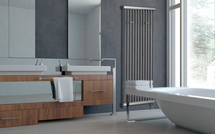 An additon to the Sussex range is the Hove Stainless steel radiator, this product comes in a brushed satin finish or polished stainless steel finish. The pipe centres are width minus 60mm, and the distance from the wall to the front face of the radiator is 80mm. The Hove can be mounted both vertically and horizontally. Towel hanger shown is optional extra and will only fit when the product is mounted vertically. Lifetime guarantee on this radiator. For only £535.50!