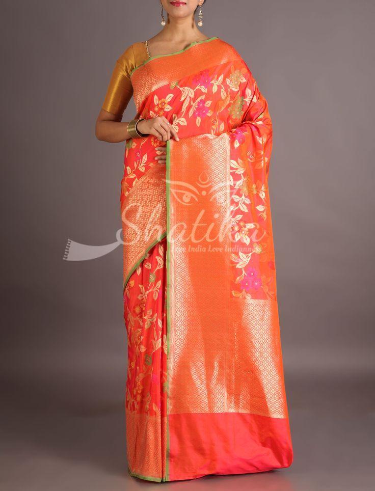 Sanchita Gold Spot Orange With Bloom In Silver And Color Banarasi Brocade Silk Saree