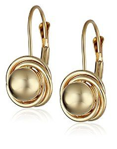 Yellow Gold Ball with Three Ring Earrings