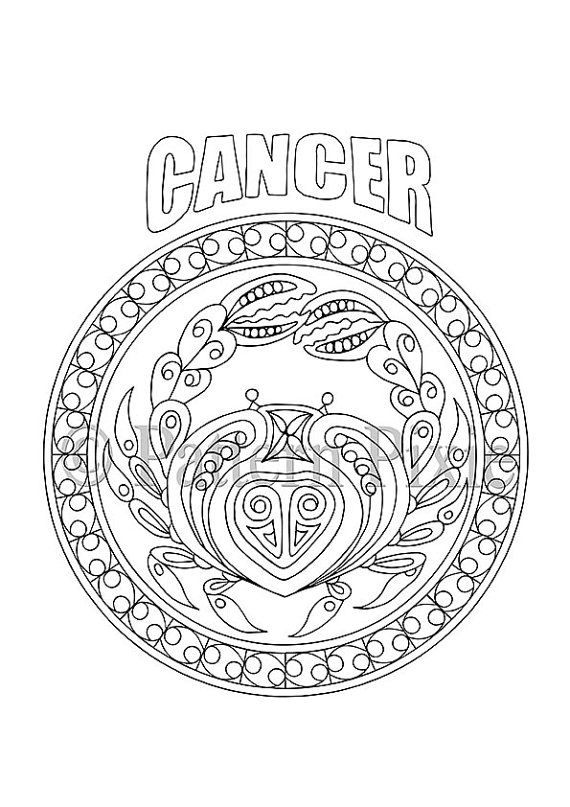 Adult Coloring Page Zodiac Cancer por PatternPixie en Etsy