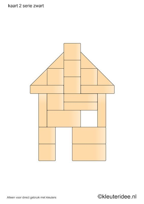 Bouwkaarten voor de blokkenhoek, kleuteridee.nl , serie zwart kaart 2, building cards for the block area, free printable.