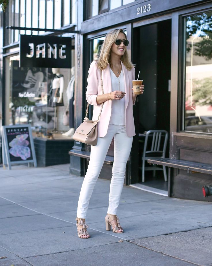 summer outfit ideas for work: blush blazer with white cami and white jeans