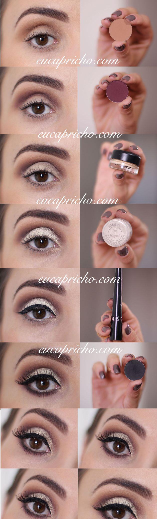Passo a passo toturial fácil cute crease concavo marcado. Post completo no link http://www.eucapricho.com/2016/04/01/maquiagem-passo-passo-cut-crease/#more-30499