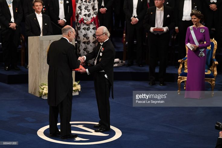 Michael Rosbash, laureate of the Nobel Prize in physiology or medicine receives his Nobel Prize from King Carl XVI Gustaf of Sweden during the Nobel Prize Awards Ceremony at Concert Hall on December 10, 2017 in Stockholm, Sweden.