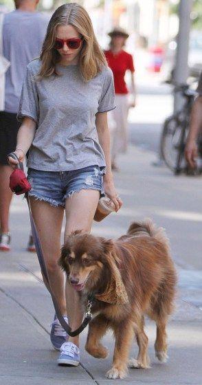 Amanda Seyfried walks her dog, Finn, in New York on Wednesday.