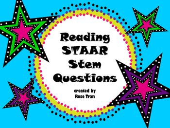 NEW Reading STAAR Stem Questions PERFECT FOR 5th-8th ...