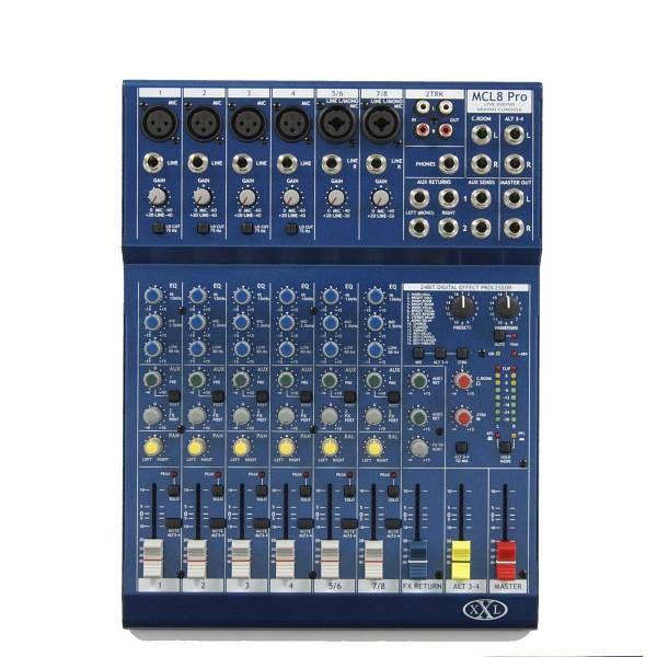 XXL MCL8PRO Mixer passivo, 8 canali, 6 ingressi microfonici, processore multieffetto 256 presets, faders da 60mm, porta USB.