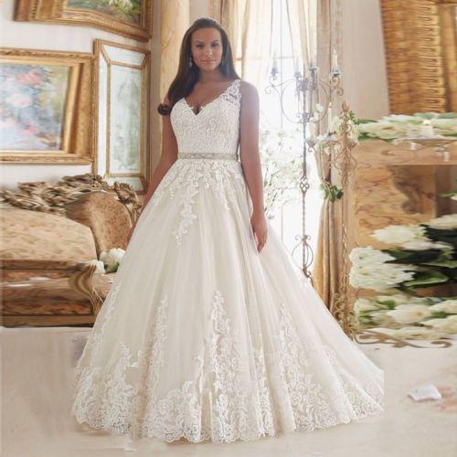 NEW-Lace-V-Neck-Wedding-Dress-Bridal-Gown-Custom-Plus-Size-48-50-52-54-56-58