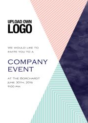 Henrys creativity - Corporate Online Corporate invitation card with large rosa, blu and dark blue triangle elements.