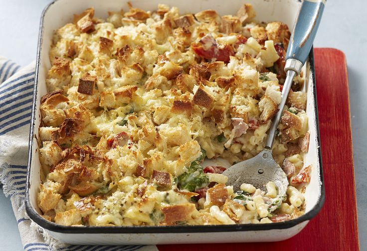 Macaroni and cheese with two excellent additions: semi-dried tomato for a flavour burst, and everyone's favourite addition to almost anything – bacon.