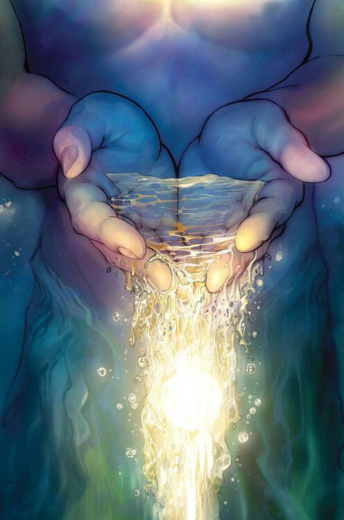 Water pouring through cupped hands art