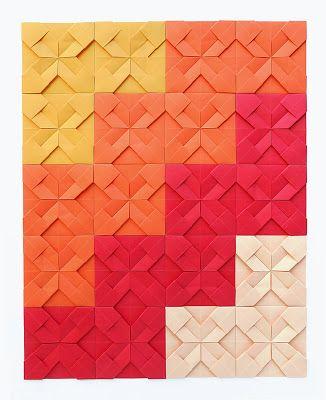 El origami quilt consiste en la repetición de uno o varios módulos que al unirlos forman una especie de mosaico