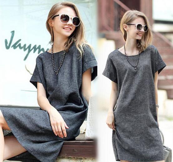 Длиной до колен 2015 лен в европу одежда для беременных платье летняя одежда свободного покроя твердые короткие беременных женщин Roupas Femininas(China (Mainland))