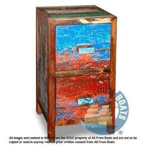 2 drawer cabinet peter vertical, reclaimed boat timber. Nautical, recycled, reclaimed, boatwood, boat furniture.