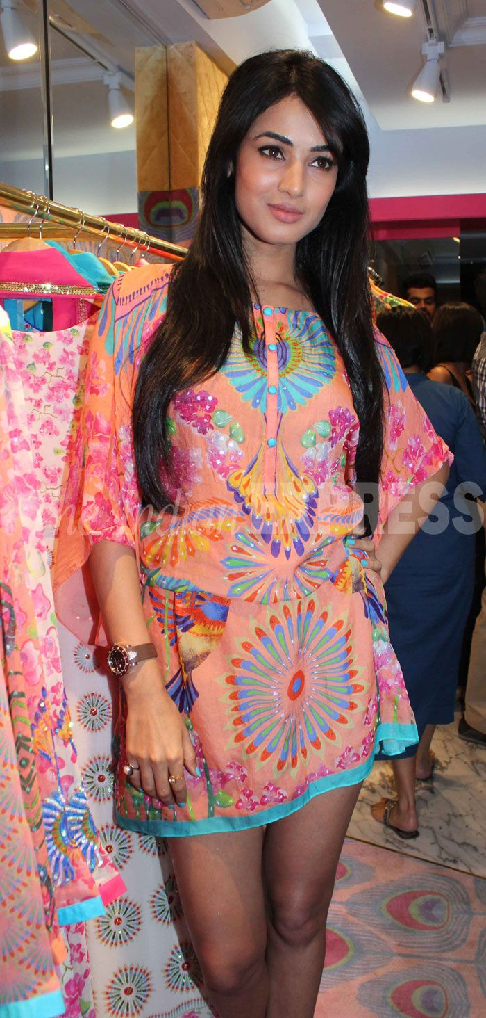 Sonal Chauhan in a short dress by Manish Arora at latter's store launch in Mumbai.