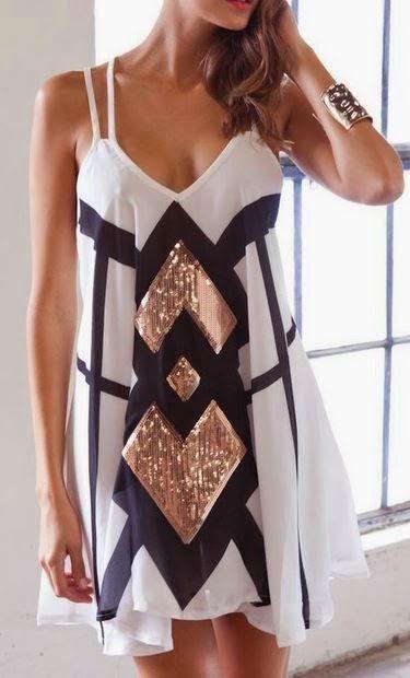 Beautiful White, Black & Metallic Summer Dress | fashion dress