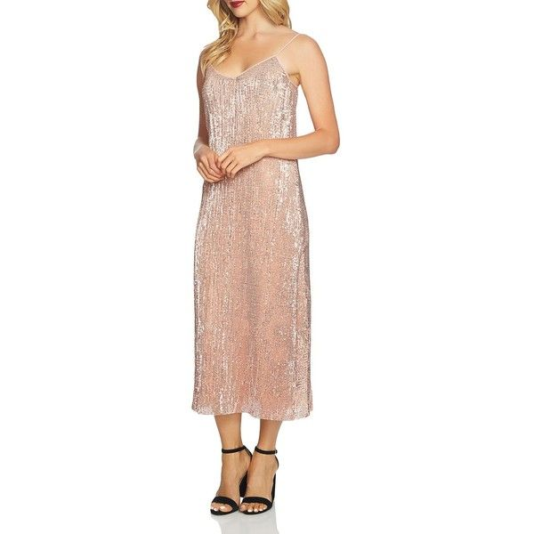 1.state Sequined Midi Slip Dress (€100) ❤ liked on Polyvore featuring dresses, lustre nude, sparkly midi dress, midi slip dress, sparkly cocktail dresses, sequin slip dress and midi cocktail dress