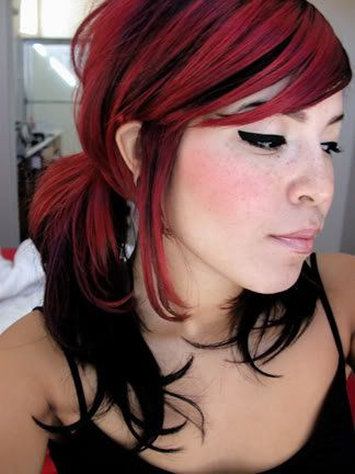 red and black hairHair Ideas, Colors Combos, Hair Colors, Red Hair, Black Hair, Emo Hair, Redhair, Red Highlights, Red Black