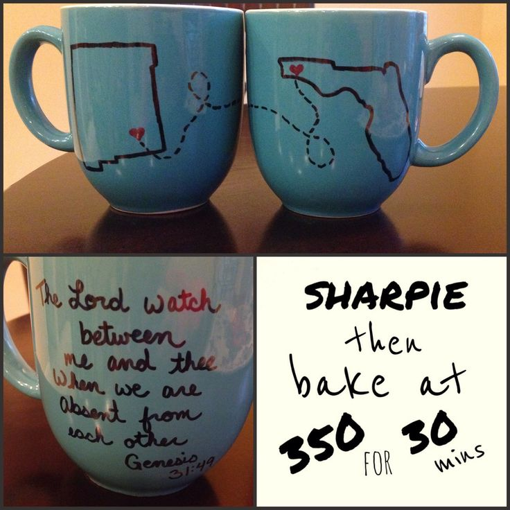 A great gift for any LDR. Got these mugs at target for $1.99. Way better than the plain white ones that are $3.99 in my opinion! I printed our states and traced them onto the mugs. Draw on with sharpie and bake at 350 for 30 mins and it's permanent! Also, genesis 31:49 is the perfect LDR bible verse!