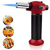 Fixget Kitchen Torch, Refillable Blow Torch Culinary Torch Lighter Chef Cooking Torch Food Torch Butane Torch Adjustable Flame Lighter with Safety Lock Adjustable Temperature & Flame for Creme Brulee, DIY, BBQ & Baking, Butane Gas Not Included