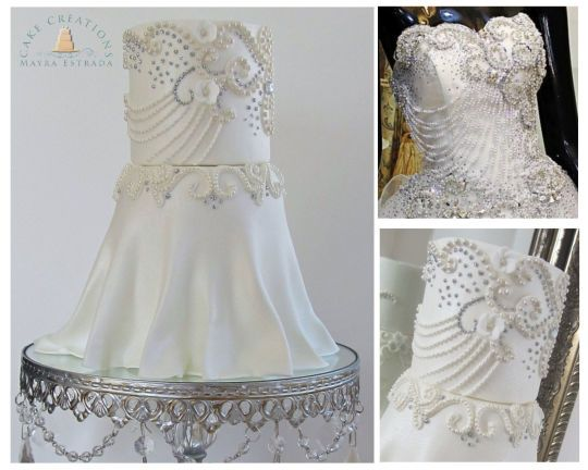 14 best images about wedding dress cakes on pinterest for Wedding dresses with pearls and diamonds