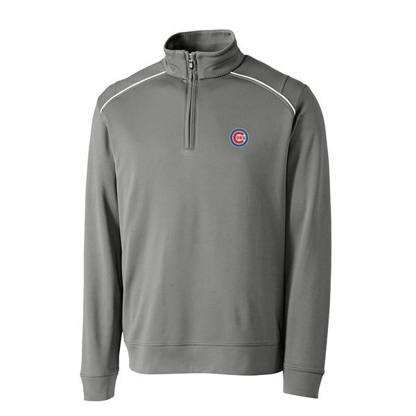 Chicago Cubs Cutter & Buck Ridge WeatherTec Half-Zip Pullover Jacket - Gray - $95.99
