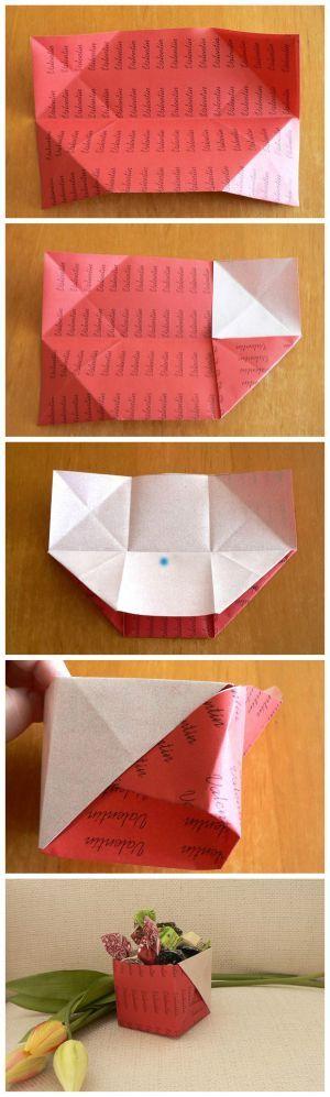 Žiadne lepidlo, iba list papiera. Pozrite si postup na skladanú škatuľku, ktorú môžete naplniť sladkosťami, napríklad na Valentína:) Autorka: Dasa_ Artmama.sk