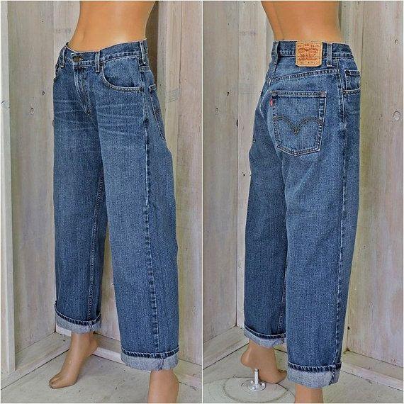 812bfee3 Vintage Levis 569 jeans 30 X 30 / loose fit straight leg / mens / womens  size 7 / 8 / boyfriend jeans