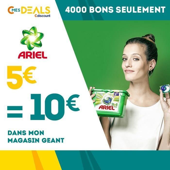 5 € ❤ Top #BonPlan - 5€ = 10€ sur toutes les dosettes de lessive #Ariel Pods dans votre magasin #Géant ➡ https://ad.zanox.com/ppc/?28290640C84663587&ulp=[[http://www.cdiscount.com/corner/bon-de-reduction-code-promo/5eu-10eu-sur-toutes-les-dosettes-de-lessive-arie/f-1416501-arielpods2408.html?refer=zanoxpb&cid=affil&cm_mmc=zanoxpb-_-userid]]
