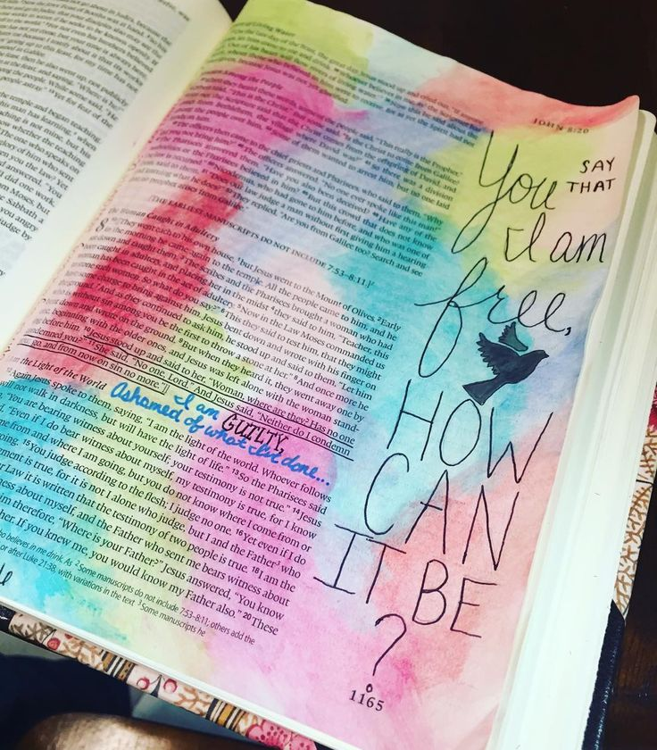 "My favorite song right now is ""How Can It Be"" by Lauren Daigle (I will include a link so that you can go listen to it!) I wanted to journal a page in my Bible that incorporated some of the words of this song... I used part of John chapter 8 where the adulterous woman was thrown at Jesus' feet and they all said that she should be stoned to death. Although that's what she deserved Jesus did not condemn her! Listen to the words of this song and think about this scripture! He is so full of…"