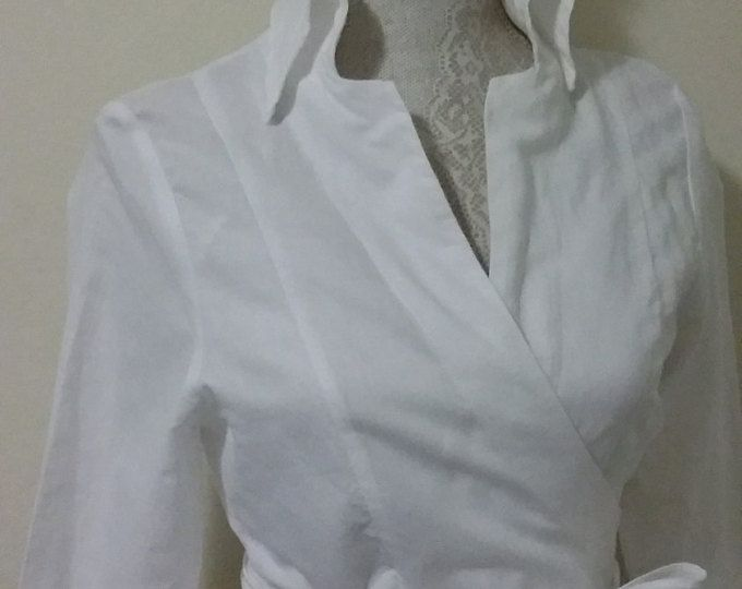 Linen White Blouse Women Womens Slim Fit Long, Sleeve Dress Shirt, White Wrap Shirt, Womens Formal Blouse, Blouse