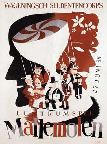 By Eppo Doeve (1907-1981), 1938, Wageningsch Studentencorps Lustrumspel Mallemolen. (Dutch)